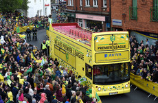 Comical scenes as Norwich City's promotion parade bus breaks down in city centre