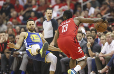 Warriors struggle from range as Harden helps Rockets level series
