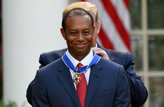Nicklaus congratulates Tiger for receiving Presidential Medal of Freedom
