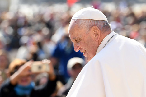 Pope Francis attends the weekly general audience in Saint Peter's square at the Vatican on 8 May