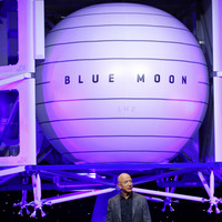Amazon founder Jeff Bezos reveals spaceship model and plans to put humans on the moon