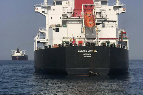 Norwegian-flagged oil tanker MT Andrea Victory off the coast of Fujairah.
