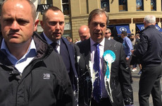 A milkshake has been thrown on Nigel Farage