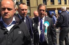 A milkshake has been thrown on Nigel Farage
