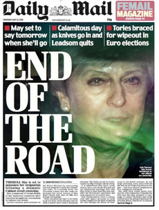 'End of the road': May clings on overnight as she's set to be forced out of Downing Street