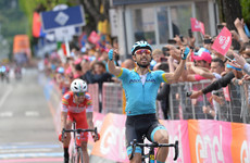 Astana's Cataldo wins stage 15 as Carapaz maintains overall Giro d'Italia lead