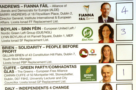 A ballot paper from the Dublin constituency in this year's European election.