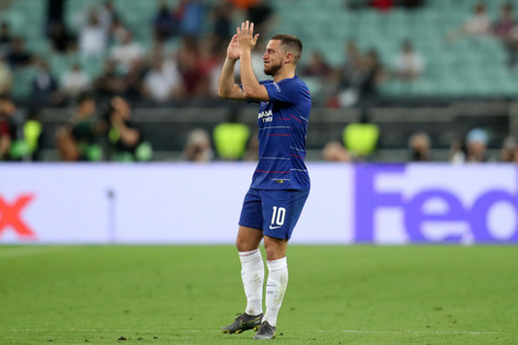 Chelsea's Eden Hazard claps the fans as he is substituted.