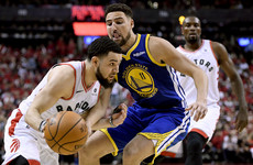 Klay Thompson delivers 25 points as Golden State Warriors level NBA Finals against Raptors