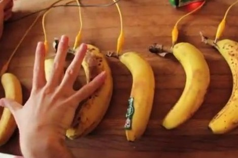 Play the piano with bananas as keys