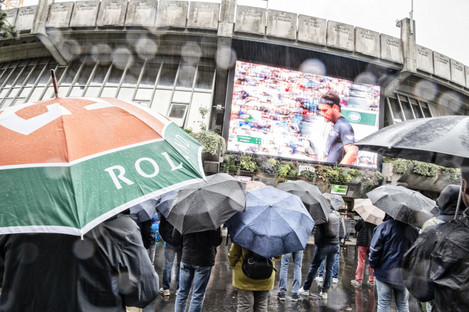 The scene at Roland Garros on Wednesday.