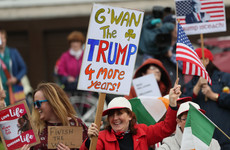 'Trump for Taoiseach': Rival protest groups greet President ... well out of view of the President