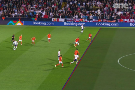 An image of the offside call.