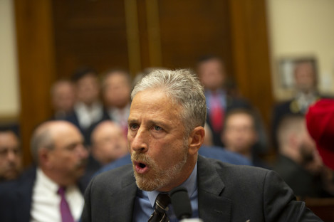 Jon Stewart on Capitol Hill in Washington DC yesterday.