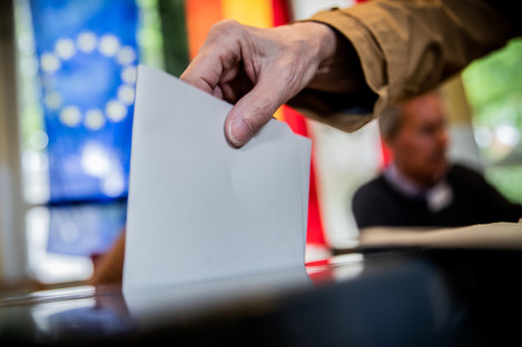 A man voting in May's European Elections. Berlin, Germany.