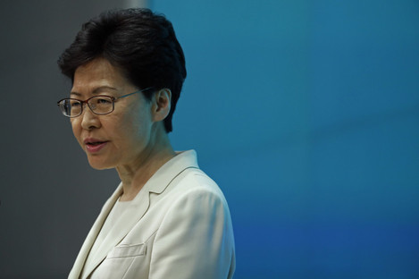 Hong Kong Chief Executive Carrie Lam speaks during a press conference at the Legislative Council today.