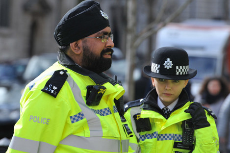 Members of the Metropolitan Police Service in London are also allowed to wear a turban as part of the uniform.