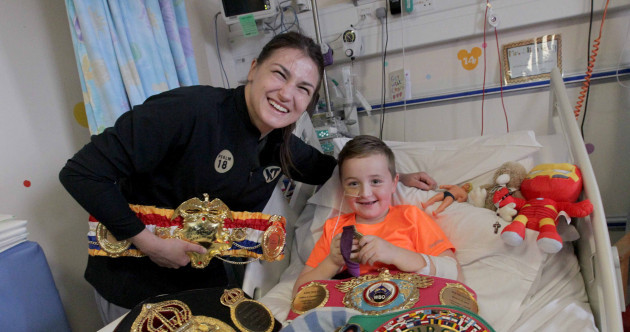 Smiles and belts all round as Katie Taylor visits Temple Street