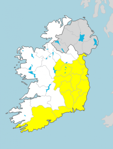 Met Éireann extends Status Yellow rain warning with heavy downpours expected across the country today