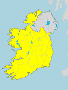 A Status Yellow weather warning has been issued for the whole country