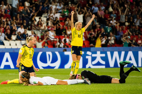 Stina Blackstenius celebrates after scoring the only goal of the game against Canada.