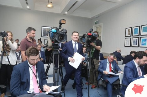 Donohoe entering the Whitaker Conference Room in the Department of Finance today.