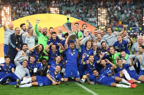 Chelsea players celebrate winning the Europa League in Baku, Azerbaijan.
