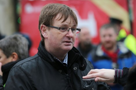 Campigner Willie Frazer speaking to the media at an anti-refugee protest in Belfast city centre in 2015.