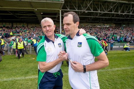 Limerick boss John Kiely with coach Paul Kinnerk after the game.