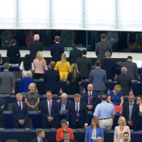Turbulent day in European parliament as Brexit Party MEPs turn backs on EU anthem