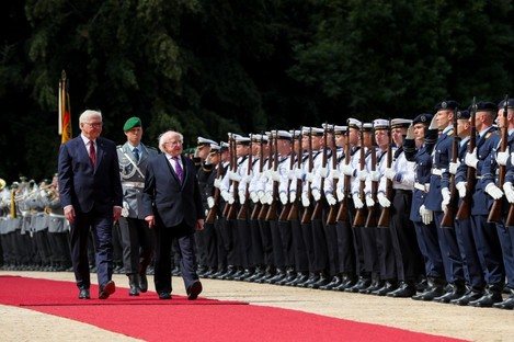 President Higgins as he inspects a Guard of Honour with President of the Federal Republic of Germany Dr Frank-Walter Steinmeier in Berlin