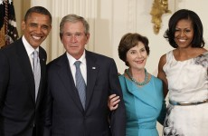 VIDEO: Bush and Obama share the stage at White House event