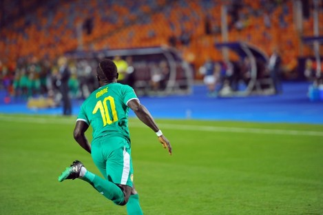 Sadio Mane celebrates the winning goal.