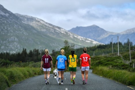 Tracey Leonard of Galway, Carla Rowe of Dublin, Geraldine McLaughlin of Donegal and Doireann O'Sullivan of Cork with the Brendan Martin Cup.
