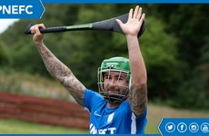 Seani Maguire shows his Preston team-mates a thing or two about hurling