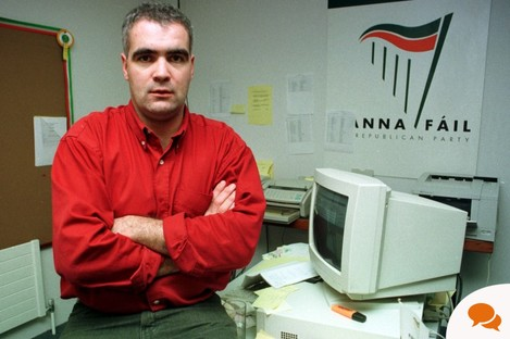 Noel Whelan at work during the presidential campaign for Mary McAleese in 1997.