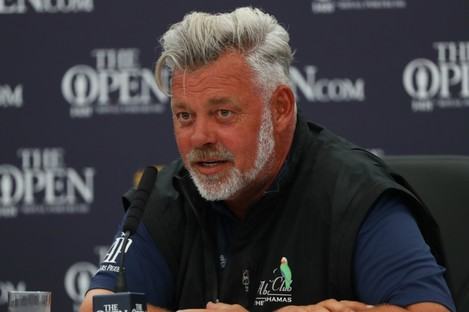 Darren Clarke addressing the media at Royal Portrush.