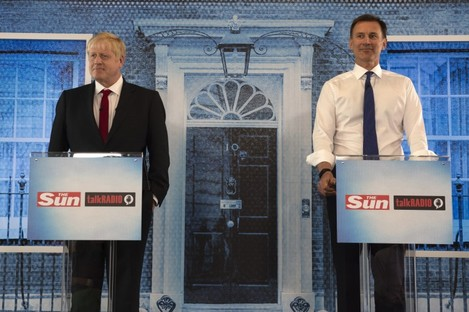 Conservative party leadership candidates Boris Johnson and Jeremy Hunt during their latest head-to-head debate