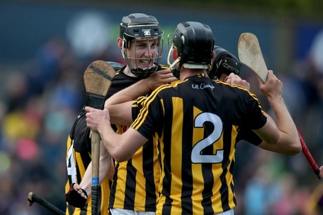 Kilkenny's David Blanchfield and James Brennan celebrate after the game.