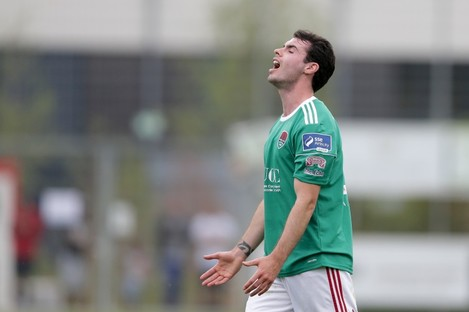 Cork's Joel Coustrain reacts to a missed chance.