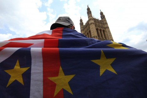 A pro-EU activist standing near the Palace of Westminster in London earlier this month.