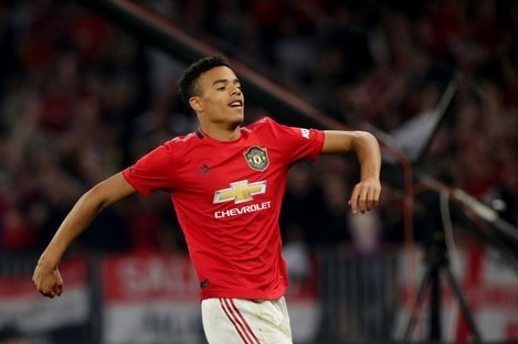Mason Greenwood celebrates scoring for Man United.
