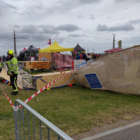 Man and child hospitalised after large sign falls at food festival in Bray