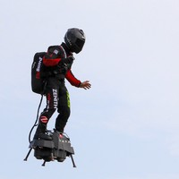 Daredevil inventor crashes into sea while attempting to fly across the Channel on a 'flyboard'