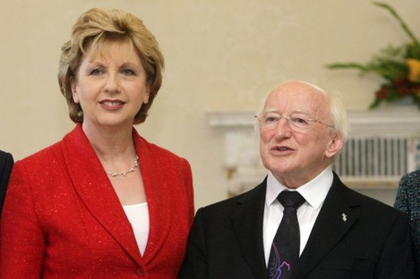 President Mary McAleese and president-elect Michael D Higgins in 2011