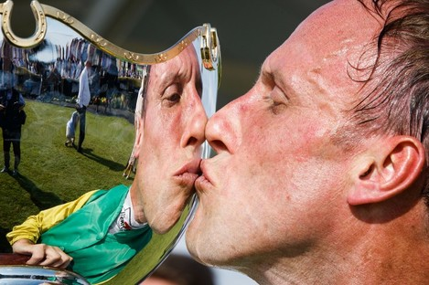 Robbie Power celebrates on day four of the Galway Festival.