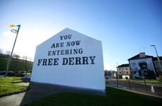 Free Derry sign graffitied with support for British soldier facing prosecution for Bloody Sunday murders