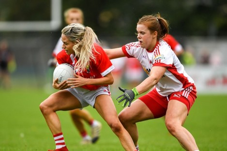 Orla Finn of Cork in action against Niamh O'Neill of Tyrone.