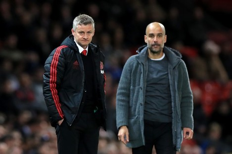 Ole Gunnar Solskjaer and Pep Guardiola pictured in April.