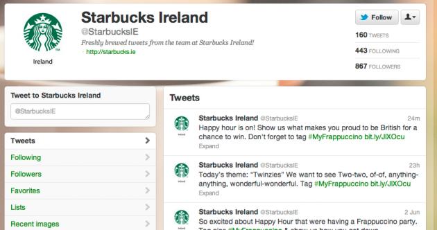 Starbucks apologises for 'British' tweet to Irish followers